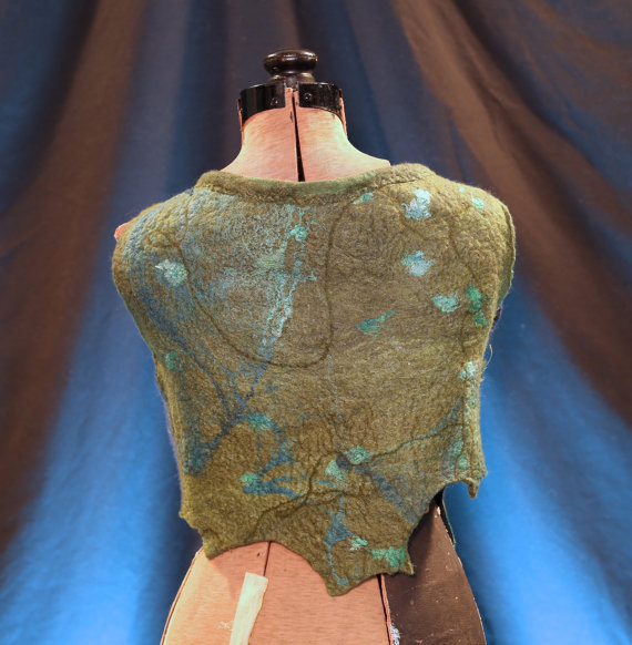 Mosshollow Nunofelted Lake Faery Vest - Back View
